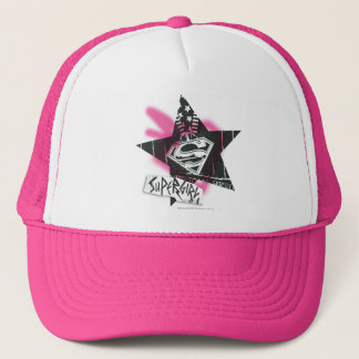 Supergirl Pink Spray Paint Star Trucker Hat