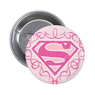 Supergirl Pink Stripes 6 Cm Round Badge