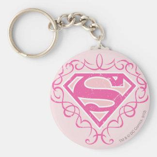 Supergirl Pink Stripes Key Ring