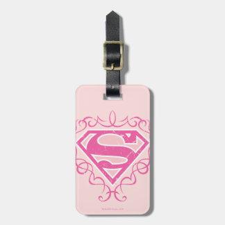 Supergirl Pink Stripes Luggage Tag