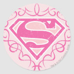 Supergirl Pink Stripes Stickers