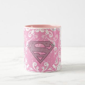 Supergirl Pink Winged Design Two-Tone Coffee Mug