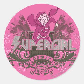Supergirl Power 2 Classic Round Sticker