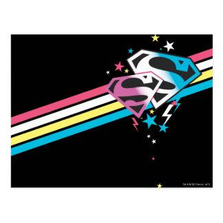 Supergirl Rainbow Stripes Postcard