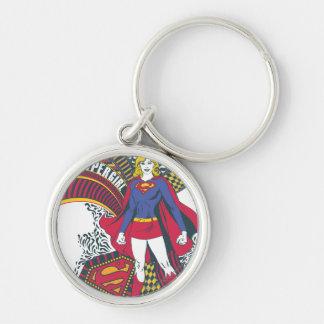 Supergirl Random World 1 Silver-Colored Round Key Ring
