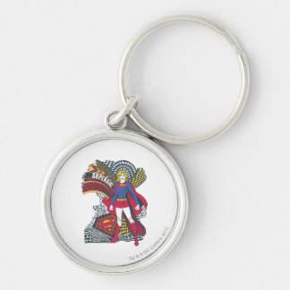 Supergirl Random World 1 Silver-Colored Round Key Ring