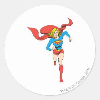 Supergirl Ready to Go Round Sticker