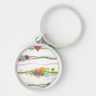Supergirl Retro Rainbow Silver-Colored Round Key Ring