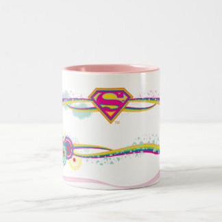 Supergirl Retro Rainbow Two-Tone Coffee Mug