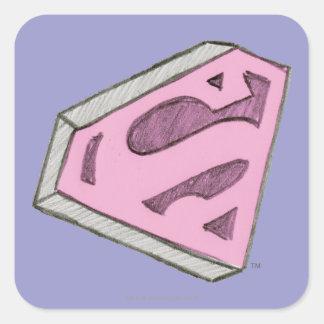 Supergirl Sketched Pink Logo Square Sticker
