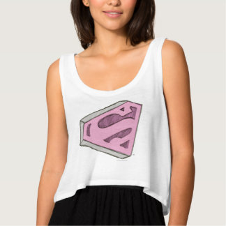 Supergirl Sketched Pink Logo Tank Top