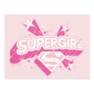 Supergirl Stars and Logo Postcard