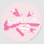 Supergirl Stars and Logo Round Stickers