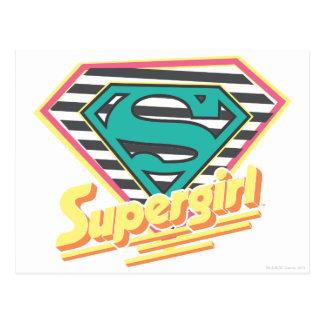 Supergirl Striped Logo Postcard