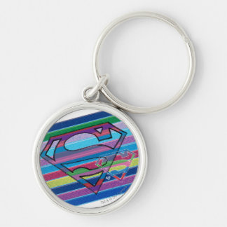 Supergirl Striped Rainbow Logo Key Ring