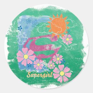 Supergirl Sun and Love Classic Round Sticker