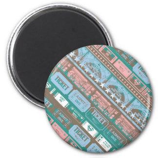 Supergirl Ticket Pattern Blue 6 Cm Round Magnet