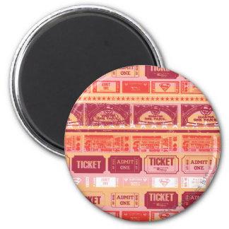 Supergirl Ticket Pattern Orange 6 Cm Round Magnet