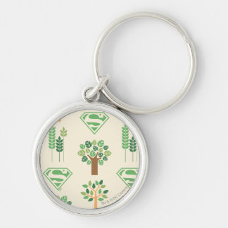 Supergirl Trees Silver-Colored Round Key Ring