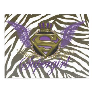 Supergirl Zebra Print Postcard