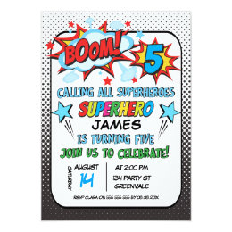 5th birthday party invitations announcements zazzle superhero 5th birthday party invitation filmwisefo Images