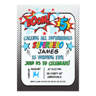5th birthday invitations zazzle superhero 5th birthday party invitation filmwisefo