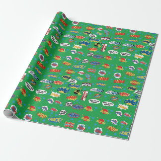 Superhero, Action Words, Sound Comic, green Wrapping Paper