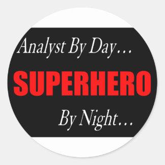 Superhero Analyst Round Sticker