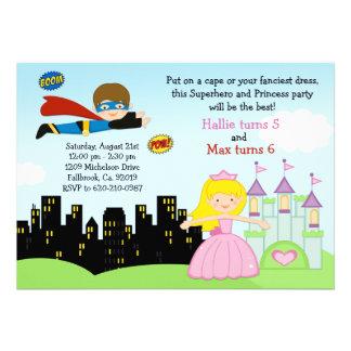 Superhero and Princess Birthday Party Invitation