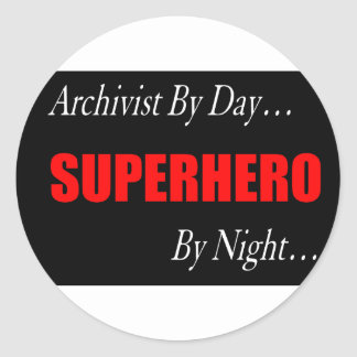 Superhero Archivist Classic Round Sticker