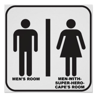 Superhero Bathroom Funny Poster