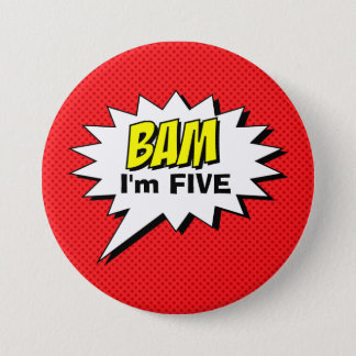 Superhero Birthday Button - Red Dot - Editable Age
