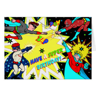 Superhero Birthday Card Colorful Comic Book Style
