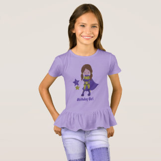 Superhero Birthday Girl T-shirt (Purple)
