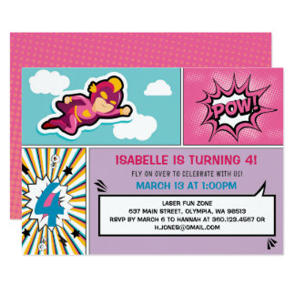 Superhero Birthday Party Invitation - Girl Colors