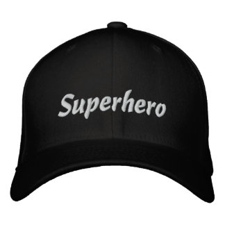 Superhero black embroidered baseball cap