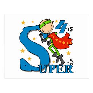 Superhero Boy 4th Birthday Tshirts and Gifts Postcard