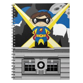 Superhero Boy on Rooftop Note Books