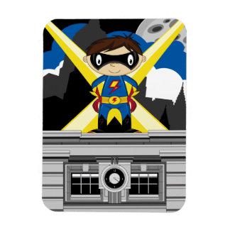 Superhero Boy on Rooftop Magnets