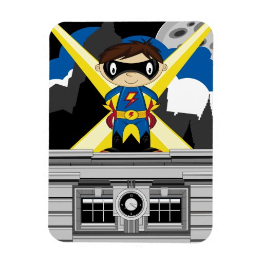 Superhero Boy on Rooftop Magnets