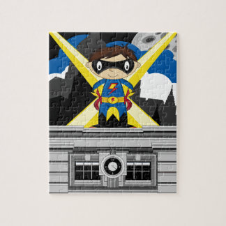 Superhero Boy on Rooftop Puzzles