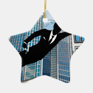 Superhero Businessman Ceramic Star Decoration