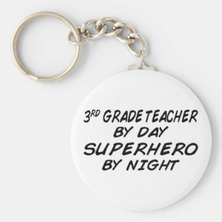 Superhero by Night - 3rd Grade Basic Round Button Key Ring