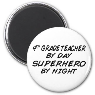 Superhero by Night - 4th Grade 6 Cm Round Magnet