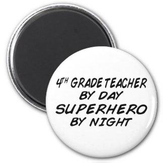 Superhero by Night - 4th Grade 6 Cm Round Magnet