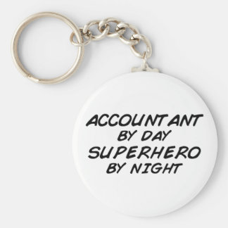 Superhero by Night - Accountant Basic Round Button Key Ring