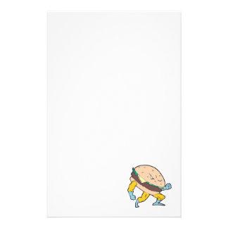 superhero cheeseburger hamburger character stationery paper