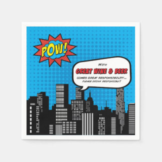 Superhero Cocktail Napkin humor Disposable Serviette
