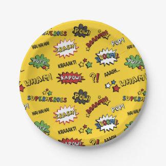 Superhero Colorful Fun Pattern Paper Plate