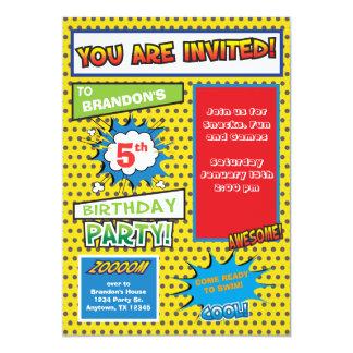 "Superhero Comic Book Birthday Invitation 5"" X 7"" Invitation Card"